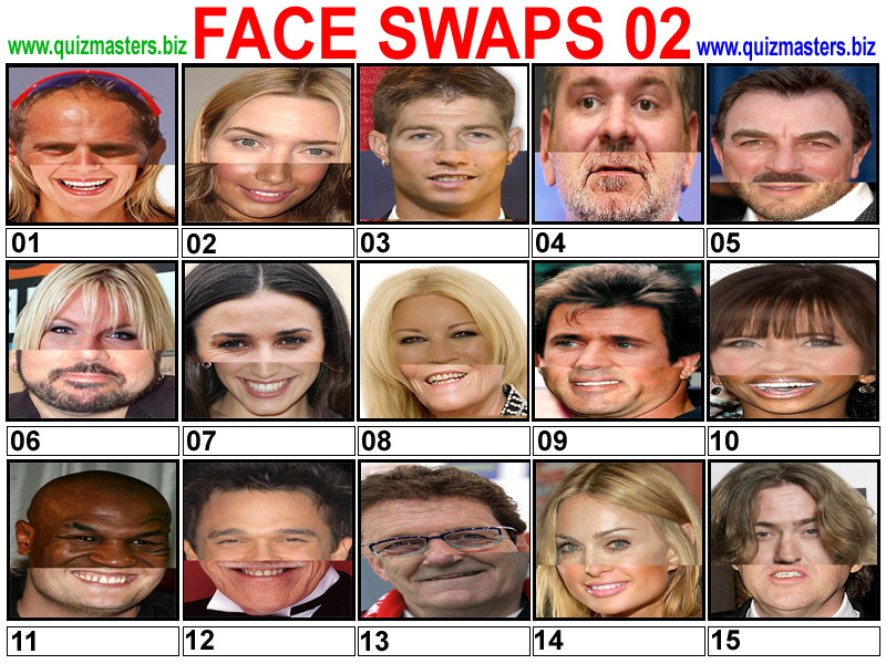 Pub quiz celebrity faces